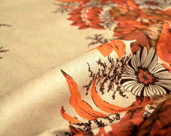 Raw linen, Printed pure linen fabric, floral printed fabric, beige, tan, brown, orange, red