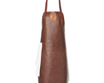 Leather Apron | BBQ Apron | Kitchen Apron | Cognac/Cognac