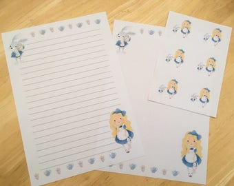 Alice in Wonderland Letter writing paper with 6 envelope seals set #1