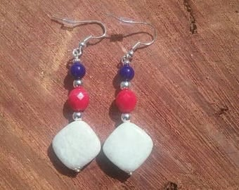 Red, white and blue dangles