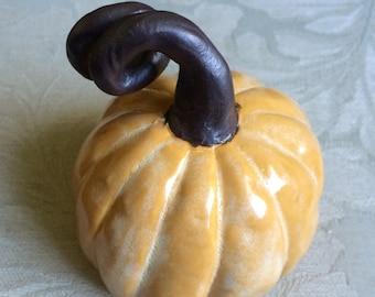 Yellow Ceramic Pumpkin