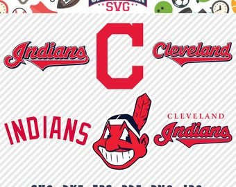 Cleveland Indians svg pack- baseball team, baseball league, baseball cut files collection vector clipart digital download svg, png, jpg, eps