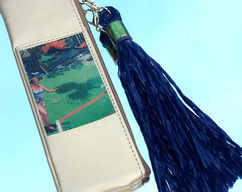 Perfect Serve MiniBag in Bright Gold with Navy, Synthetic Grass Tassel