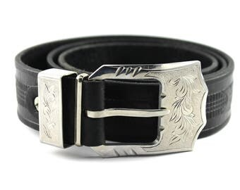 Men's black Leather Hand made  steel belt buckle
