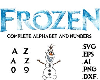 Disney Frozen font Alphabet and numbers in svg,ai,eps,dxf,png letter,svg,disney font svg,files for cricut, silhouette,Crafting,supply,tool