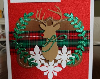 Hand made Reindeer Card with Plaid