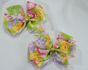 Floral Baby Bow Pair