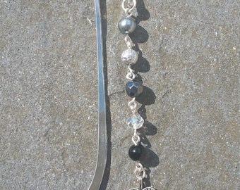 Black Beaded  heart Bookmark