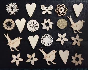 SALE ITEM Set of 20 assorted wooden shapes