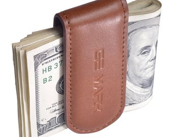 Leather Money Clip - Magnetic - for Men - Cash - Card Holder - Gift Box