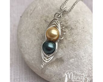Personalized Family Jewelry For Mom Grandma Jewelry Family Birthstone Necklace Bridesmaid Jewelry Two Pea Pod Pendant