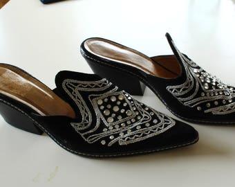 Bedazzled Western Slip on Heels