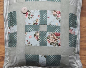 Green Patchwork Feather Cushion