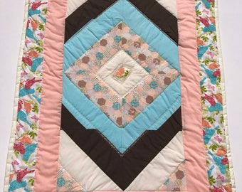 baby quilt, baby blanket, handmade quilt, cot quilt, baby shower, christening, birthday, peach, blue, free shipping