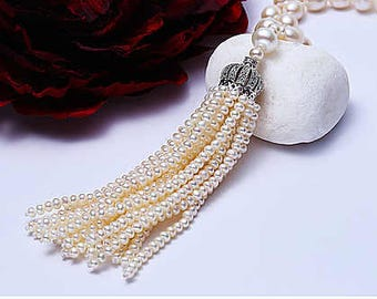 "Pearl Tassel Necklace (35"" long)"