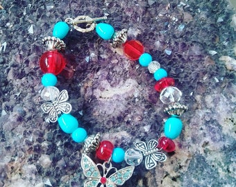 Butterfly Bracelet, with toggle clasp. Made with glass beads.