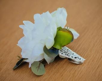 Evangeline Silk Flower Wedding Buttonhole