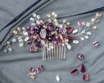 Crystal hair comb, purple and clear hair comb, evening hair jewelry, purple hair jewelery, purple hair accessory