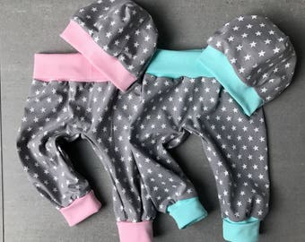 Set of baby twins star turquoise pink grey bloomers & Hat Gr. 56 / 62 / 68 newborn girl boy