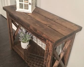Rustic X Entry Table
