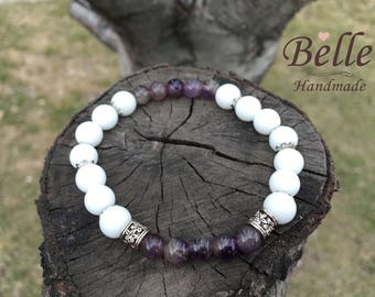 Bracelet from natural onyx and amethyst