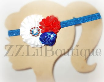 4th of July Headband, Independent Day Headband, Girl Headband, Red, White, and Blue Elastic Headband, Flower Headband, Rhinestone Headband
