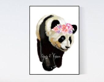Panda floral crown Children room quote art PRINT 11'' x 13'' hand drawn print