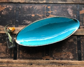 Turquoise and Gold Dish / Bowl / Planter
