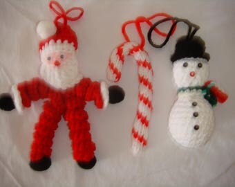 crocheted and knitted christmas ornaments, crocheted snowman, crocheted curly q santa, knitted candy cane, set of three christmas ornaments