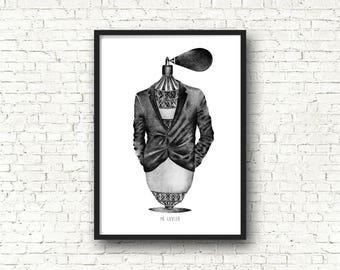 Surrealist poster / / black pen