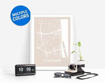 Cologne Full Color Map Print | Cologne Germany Map | Cologne Art
