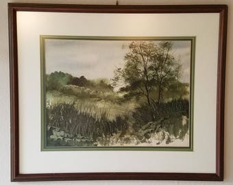 Framed Original Watercolor Landscape Painting