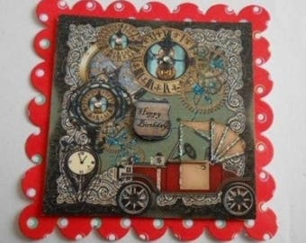 Pack 2 Male Steampunk Happy Birthday Topper Embellishments for cards and crafts