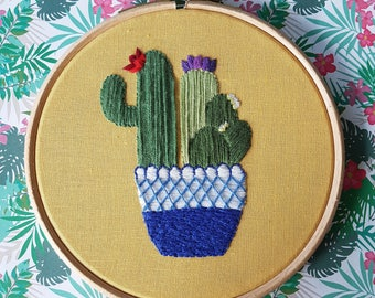 Hand Embridered Cactus, 5 Inch Hoop, Embroidery Art, Wall Art, Home Decor