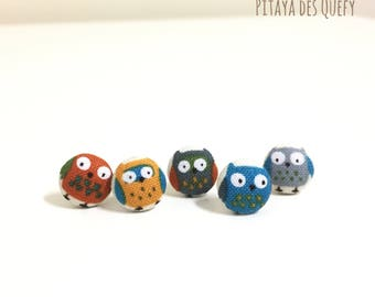 Owl fabric covered button earrings/ fabric button earrings