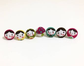 Russian dolls covered button earrings/ fabric button earrings