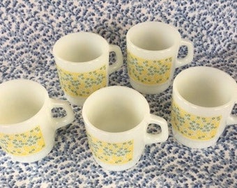 5 Vintage Termocrisa Mugs/Cups Yellow and Green