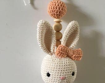 Baby shell pendant crocheted Bunny