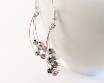 Crystal drop earrings/ memory wire earrings/ sparkle earrings/ Czech glass earrings/ beaded earrings/ glass drop earrings/ evening earrings/