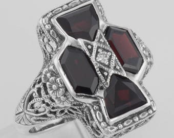 Unique Art Deco Style Garnet and Diamond Filigree Ring - Sterling Silver Size 8 Handmade
