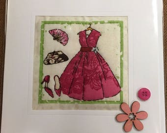 Hand Made Quilted Card Birthday Thank You Thinking Of You Shoes Vintage Fashion Bags Dress