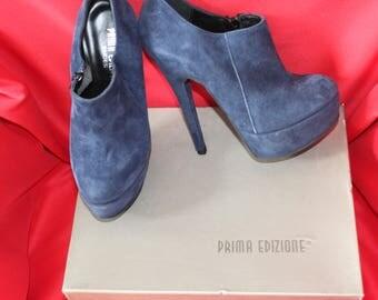 Shoe Boots Prima Edizione platform P 36 Italian leather Suede Blue new