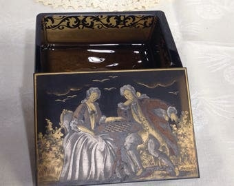 Romantic Colonial Couple on Dark Glass Jewelry /Trinket Box