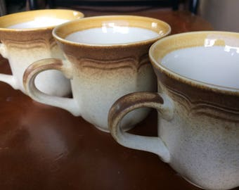 Coffe mugs, Tea Mugs, Vintage Mikasa Whole Wheat, Stoneware