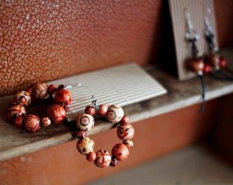 Hoop Earrings from beautiful wood beads