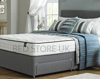 Grey Suede Divan Bed with Mattress and Headboard