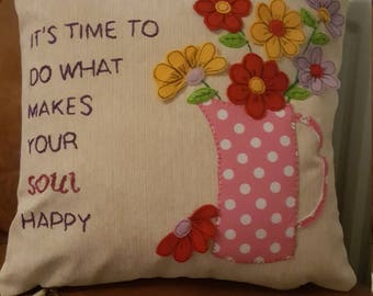 Hand sewn personalised cushion