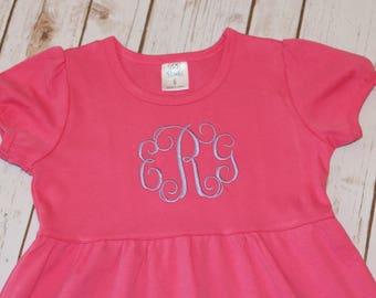 Girls Monogrammed Ruffle Dress