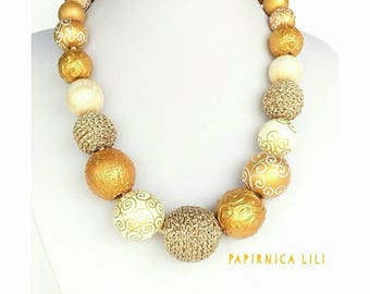 Wooden beads&yarn Golden Necklace