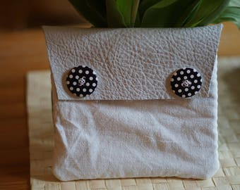 Leather-fabric white pouch